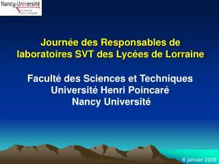 Journée des Responsables de laboratoires SVT des Lycées de Lorraine
