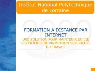FORMATION A DISTANCE PAR INTERNET UNE SOLUTION POUR MAINTENIR EN VIE