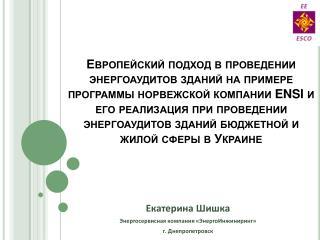 Екатерина Шишка Энергосервисная компания «ЭнергоИнжиниринг» г. Днепропетровск