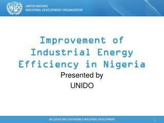 Improvement of Industrial Energy Efficiency in Nigeria