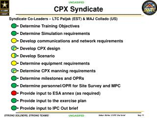 Syndicate  Co-Leaders  �  LTC  Paljak  (EST) & MAJ Collado (US) Determine Training Objectives
