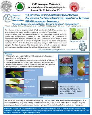 XVIII  Convegno  Nazionale Società Italiana di Patologia Vegetale