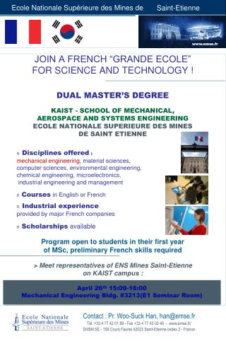 "JOIN A FRENCH ""GRANDE ECOLE""  FOR SCIENCE AND TECHNOLOGY ! DUAL MASTER'S DEGREE"