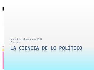 La ciencia de lo político