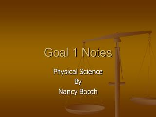 Goal 1 Notes