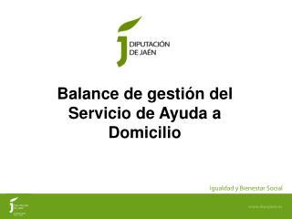 Balance de gestión del  Servicio de Ayuda a Domicilio