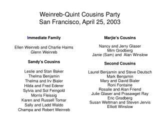 Weinreb-Quint Cousins Party San Francisco, April 25, 2003