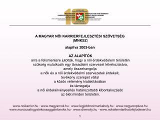 A MAGYAR NŐI KARRIERFEJLESZTÉSI SZÖVETSÉG  (MNKSZ ) alapítva 2003-ban AZ ALAPÍTÓK