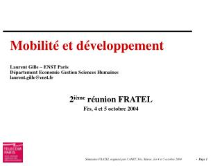 2 ième  réunion FRATEL Fès, 4 et 5 octobre 2004