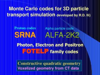 Monte Carlo codes for 3D particle transport simulation  developed by R.D. Ili}
