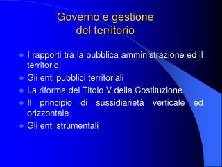 Governo e gestione  del territorio