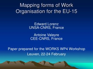 Mapping forms of Work Organisation for the EU-15