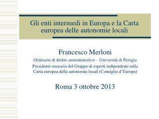 Gli enti intermedi in Europa e la Carta europea delle autonomie locali
