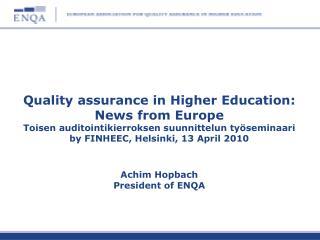 ESG and the European  dimension  of QA application  of ESG transnational QA