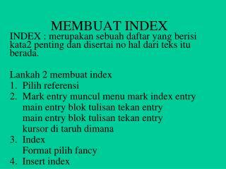 MEMBUAT INDEX