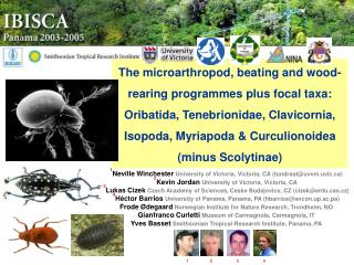 The microarthropod, beating and wood-rearing programmes plus focal taxa: