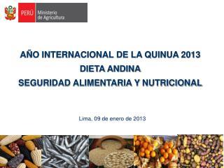 AÑO INTERNACIONAL DE LA QUINUA 2013 DIETA ANDINA SEGURIDAD ALIMENTARIA Y  NUTRICIONAL