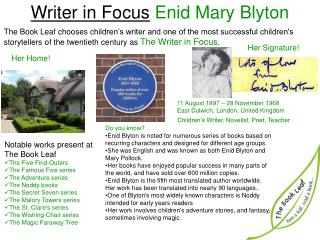 Writer in Focus Enid Mary  Blyton