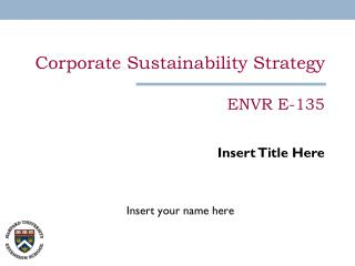 Corporate Sustainability Strategy  ENVR E-135