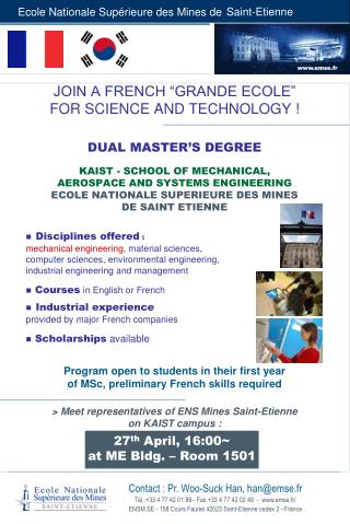"""JOIN A FRENCH """"GRANDE ECOLE""""  FOR SCIENCE AND TECHNOLOGY ! DUAL MASTER'S DEGREE"""