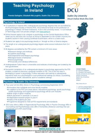 Teaching Psychology  in Ireland  Pamela Gallagher, Elizabeth McLoughlin, Dublin City University