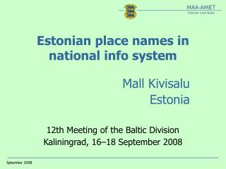 Estonian place names in national info system