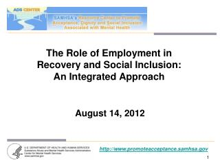 The Role of Employment in  Recovery and Social Inclusion:  An Integrated Approach