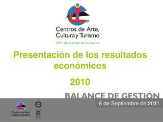 Presentación de los resultados económicos 2010