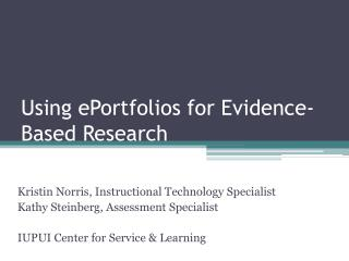 Using ePortfolios for Evidence-Based Research