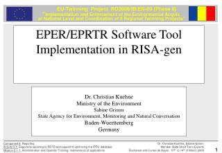 EPER/EPRTR Software Tool Implementation in RISA-gen