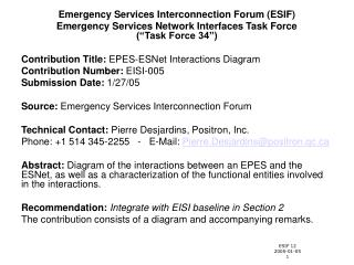 Emergency Services Interconnection Forum (ESIF)