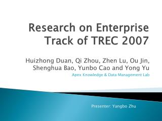 Research on Enterprise Track of TREC 2007