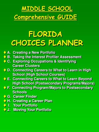 MIDDLE SCHOOL Comprehensive GUIDE FLORIDA  CHOICES PLANNER