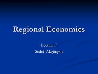Regional Economics