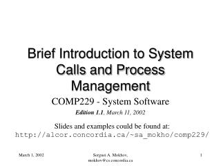 Brief Introduction to System Calls and Process Management