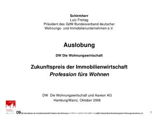 DW  Die Wohnungswirtschaft und Aareon AG Hamburg/Mainz, Oktober 2008