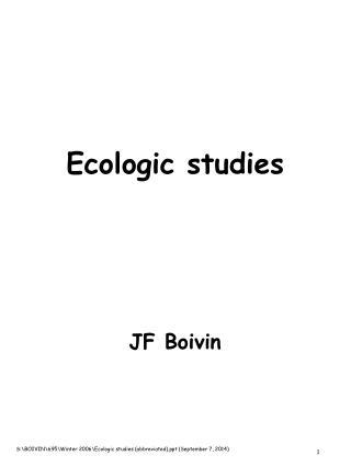 Ecologic studies