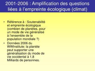 2001-2006 : Amplification des questions liées à l'empreinte écologique (climat)