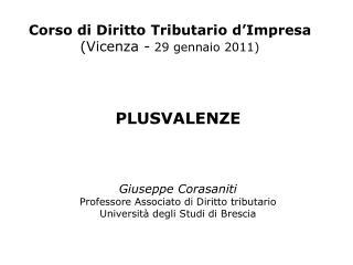 Corso di Diritto Tributario d'Impresa (Vicenza -  29 gennaio 2011)