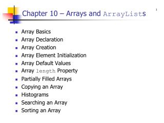 Chapter 10   Arrays and ArrayLists