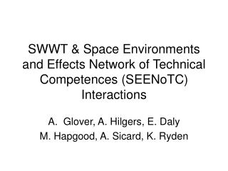 SWWT & Space Environments and Effects Network of Technical Competences (SEENoTC) Interactions