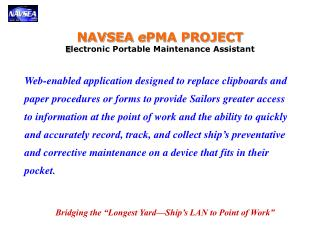 NAVSEA  e PMA PROJECT E lectronic Portable Maintenance Assistant