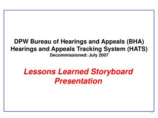 Lessons Learned Storyboard Presentation