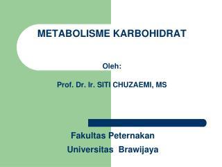 METABOLISME KARBOHIDRAT  Oleh: Prof. Dr. Ir. SITI CHUZAEMI, MS