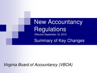New Accountancy Regulations