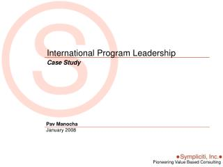 International Program Leadership