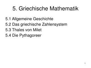 5. Griechische Mathematik
