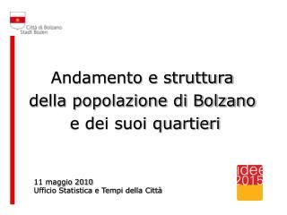 Andamento e struttura  della popolazione di Bolzano  e dei suoi quartieri