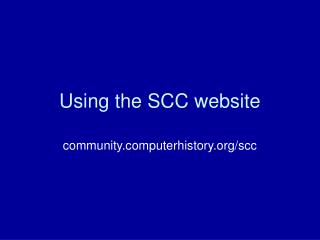 Using the SCC website