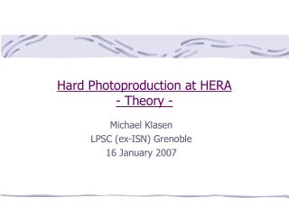 Hard Photoproduction at HERA - Theory -